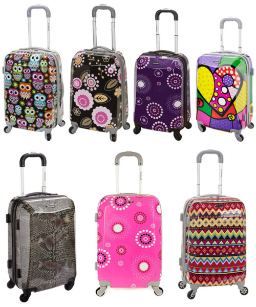 """There are 9 different patterns to choose from with the Rockland Carry-On 20"""". 7 are shown here."""