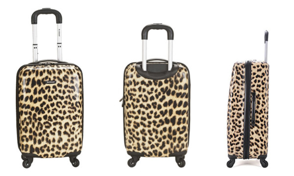 Front, back and side view of the Rockland Leopard Luggage Set
