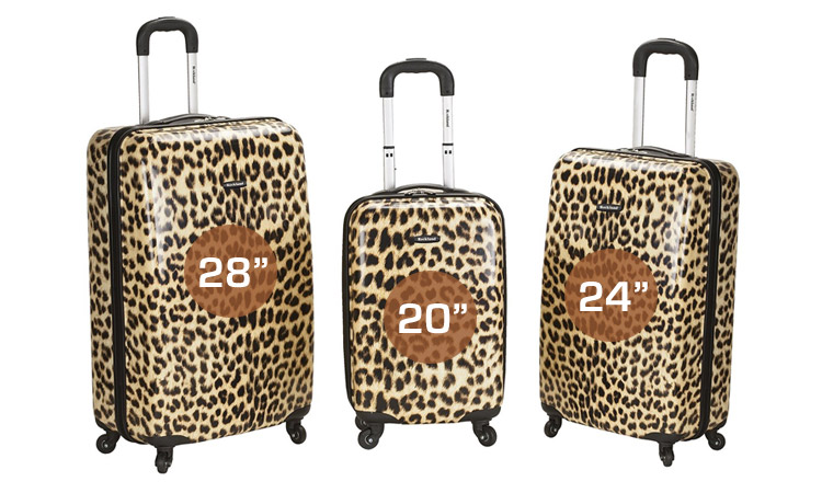 "Rockland Leopard Luggage Set Sizes: 28"", 24"", 20"""