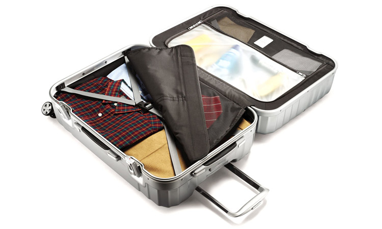 Samsonite Tru-Frame Luggage Interior with Clothes