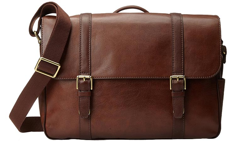 Fossil Saffiano Leather Messenger Bag