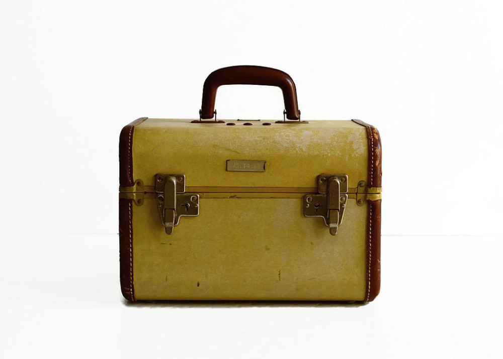 Vintage Samsonite 1930s Beige Train Case