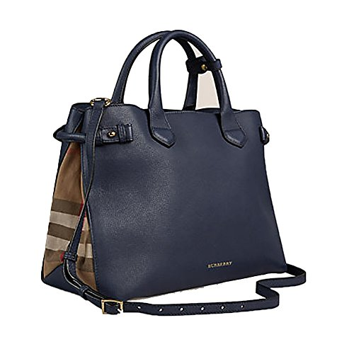 0a95d73b074 Tote Bag Handbag Authentic Burberry Medium Banner in Leather and House  Check INK BLUE Item 39830391